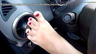 Feet tease in car